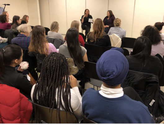 Fireside chat with FWA president Karen Elinski at the National Museum of Mathematics highlighting the contributions of FWA members, mentors and sponsors.