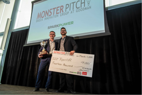 Drew MacNeil and Evan Sitler, founders of XpertVR, were chosen as the winners of the year's Monster Pitch competition.