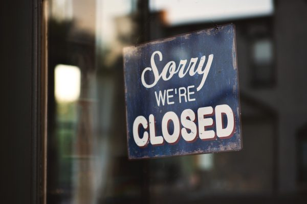 """Sorry we're closed"" Photo by Tim Mossholder on Unsplash"